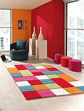 Kinder Teppich Wohnzimmer Kinderzimmer Spielteppich Patchwork Regenbogen - 200x290 cm - schadstofffrei - Pink Grün Blau Orange