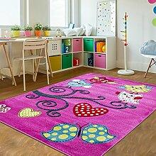 Kinder Teppiche_Wohnzimmer, Gästezimmer, Jugenzimmer Teppiche_KIDS0420_Spielteppich, Farbe:Lila, Maße:120x170 cm