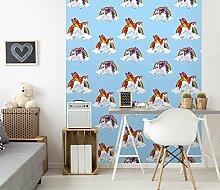 Kinder- und Schlafzimmer-Tapete mit Regenbogen-