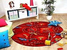 Kinder und Spielteppich Disney Cars Rot Rund in 7 Größen, Größe:133 cm Rund