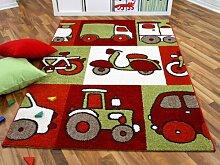 Kinder und Spielteppich Softstar Motors Rot in 3 Größen