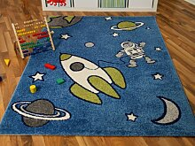 Kinder und Spielteppich Softstar Space World Blau
