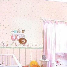 Kinder Vliestapete/die Mädchen warme Kirsche Schlafzimmer Tapete/flower Muster Teppichboden Tapete-A