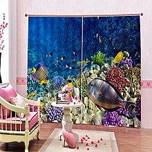 Kinder Vorhänge Gardinen Meeresbewohner