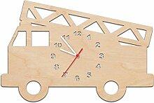 Kinder Wanduhr aus Holz im Feuerwehrauto Design