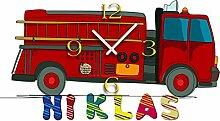 Kinder-Wanduhr Feuerwehrauto mit persönlichem