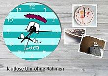 Kinder Wanduhr Kinderuhr Kinderzimmer Uhr mit Namen personalisiert laufruhig leise Monster mint (20.6 cm)