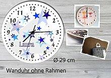 Kinder Wanduhr Kinderuhr Kinderzimmer Uhr mit Namen personalisiert laufruhig leise Sterne blau (29 cm)