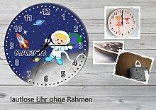 Kinder Wanduhr Kinderuhr Kinderzimmer Uhr mit Namen personalisiert laufruhig leise Weltall (20.6 cm)