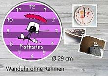 Kinder Wanduhr Kinderuhr Kinderzimmer Uhr mit Namen personalisiert laufruhig leise Monster lila (29 cm)