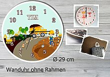 Kinder Wanduhr Kinderuhr Kinderzimmer Uhr mit Namen personalisiert laufruhig leise Baustelle (29 cm)