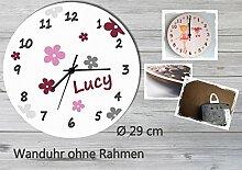 Kinder Wanduhr Kinderuhr Kinderzimmer Uhr mit Namen personalisiert laufruhig leise Blumen grau brombeere (29 cm)