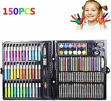 Kinder Zeichnen Gemälde Skizzieren Werkzeuge Set Wasser Farbe Pen Crayon Öl Pastell Pinsel Stifte Art Schule Stationery Inspiration Geschenke Elementare Buntstifte Marker Pinsel für Kinder und Erwachsene, 150pcs