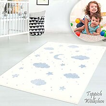 Kinder-Zimmer-Teppich mit Herz Sterne Wolken Anker
