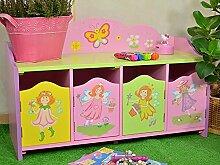 Kinderbank Kinderschrank Prinzessin Kindermöbel Kinderregal Pink Traum Fee Rosa 54 x 82 x 32 cm