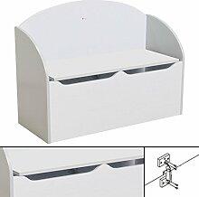 KINDERBANK weiß ~ 77x55x30cm SOFT CLOSE Bank Kindermöbel Stuhl Sitzmöbel Truhe