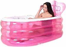 Kinderbecken Aufblasbare verdickte erwachsene faltende Wanne Kunststoff drei Runden warme Kinder Waschbecken rosa Hauspool (Farbe : Pink)