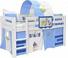 Kinderbett 90x200 Weiß Weltraum Hochbett TIM