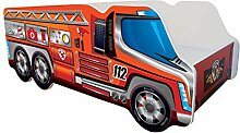 Kinderbett Autobett Feuerwehr   140 x 70 cm  