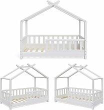 Kinderbett Hausbett DESIGN 70x140 Weiß Zaun