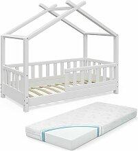 Kinderbett Hausbett DESIGN 70x140cm Weiß Zaun