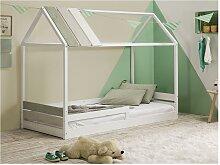 Kinderbett Hausbett INDIANA - 90 x 190 cm - Weiß