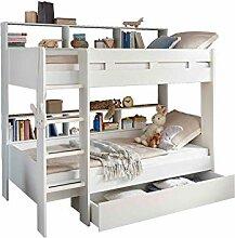 Kinderbett Hochbett Etagenbett | Weiß | 90x200 cm