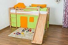 Kinderbett Hochbett Georg mit Rutsche Buche