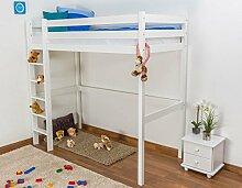 Kinderbett / Hochbett Kiefer massiv Vollholz weiß
