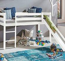 Kinderbett Hochbett mit rutsche Hochbett Spielbett Kiefer (Bett in Weiss mit Rolllattenrost, Turm und Vorhang Schwarz Weiss Pirat)