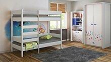 Kinderbett Hochbett verschiedene Holzfarben Variantenauswahl Jugendzimmer-DIEGO (200/90, Mod.1 Fronteingang)
