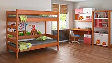 Kinderbett Hochbett verschiedene Holzfarben Variantenauswahl Jugendzimmer-DIEGO (180/80, Mod.4 Seiteneingang)