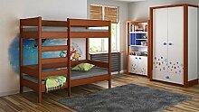 Kinderbett Hochbett verschiedene Holzfarben Variantenauswahl Jugendzimmer-DIEGO (160/80, Mod.3 Fronteingang)