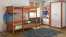Kinderbett Hochbett verschiedene Holzfarben Variantenauswahl Jugendzimmer-DIEGO (140/70, Mod.4 Fronteingang)