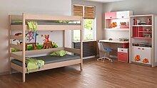 Kinderbett Hochbett verschiedene Holzfarben Variantenauswahl Jugendzimmer-DIEGO (200/90, Mod.2 Seiteneingang)