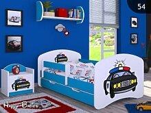 Kinderbett mit Matratze Bettkasten und Lattenrost Blau verschiedene Motive (140x70cm mit Schublade, POLIZEI)