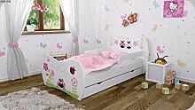 Kinderbett mit Matratze Bettkasten und Lattenrost - verschiedene Motive DM (Insekten, 180x90cm)