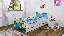 Kinderbett mit Matratze Bettkasten und Lattenrost - verschiedene Motive DM (Frosch, 180x90cm)