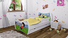 Kinderbett mit Matratze Bettkasten und Lattenrost - verschiedene Motive DM (Fussballspieler, 160x80cm)