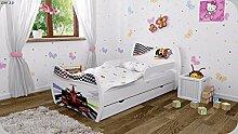 Kinderbett mit Matratze Bettkasten und Lattenrost - verschiedene Motive DM (Formel 1, 180x90cm)