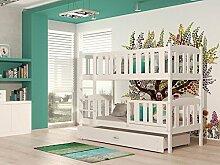 Kinderbett mit Matratze und Lattenrost / verschiedene Farben / schneller Versand (Kubus Weiss 190x86x150 cm)
