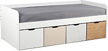 Kinderbett mit Stauraum 4 Schubladen Holz und