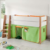 Kinderbett mit Vorhang in Orange Grün halbhoch