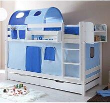 Kinderbett mit Vorhang und Tunnel Massivholz und