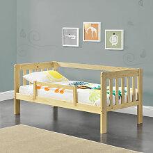 Kinderbett Selfoss 90x200 cm mit Schutzgitter Natur