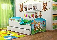 Kinderbett Spielbett Babybett 140x80 / 160x80 cm für Jungen und Mädchen mit Matratze + Schublade + Lattenrost + Bettbezug mit Rausfallschutz-- 28 Motive zur Auswahl (18 Jungle Animal, 80 x 140 cm)