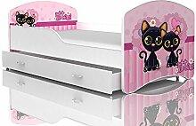 Kinderbett Spielbett Babybett 140x80 / 160x80 cm für Jungen und Mädchen mit Matratze + Schublade + Lattenrost + Bettbezug mit Rausfallschutz-- 28 Motive zur Auswahl (24 Katzen, 80 x 160 cm)