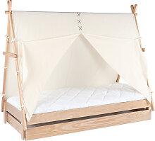 Kinderbett Tipi mit Aufbewahrung Holz und