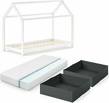 Kinderbett WIKI 90x200 cm Weiß Schlafplatz