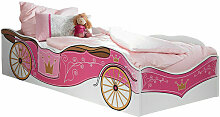 Kinderbett Zoe mit Kutschenmotiv 90*200 cm weiß -